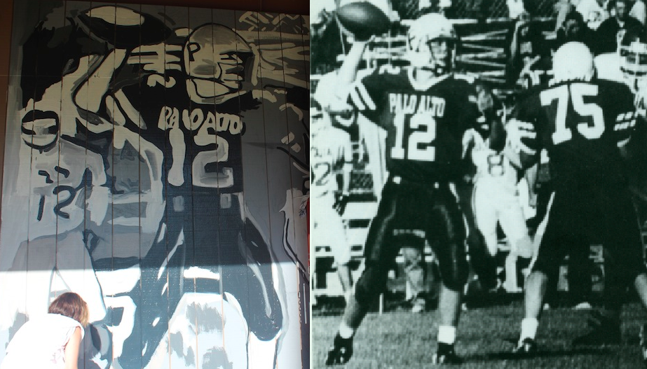 """The mural painted by actor and alumnus James Franco is inspired by photos from Palo Alto High School's 1993 yearbook, when Franco was a freshman. On the right lies the original yearbook photo where """"Mike Smith throws one of many touchdown passes."""" On the left lies James Franco's mural of the image that is now painted on the exterior of the Student Center. Photo by Adele Bloch and Ana Caklovic."""