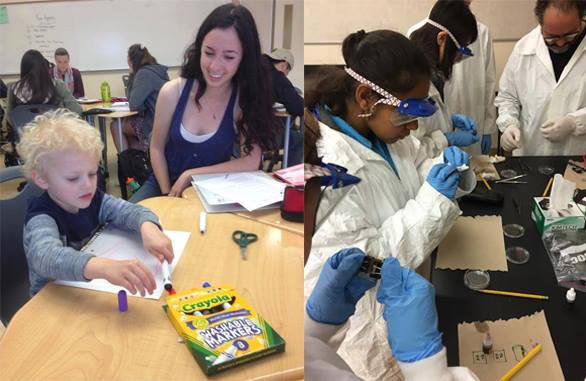 Left: Junior Yael Moskowitz engages with preschool student during the Early Childhood Development Class. Right: Students interact in lab during the Nanotechnology class. Photos by Wesley Woo.
