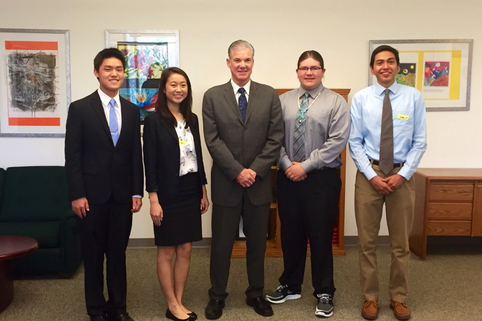 "Senior Claire Liu, the other finalists, and the California Department of Education superintendent met to discuss issues at public schools. ""If the opportunity arises, I think students should definitely apply for the program,"" Liu said. Photo courtesy of Claire Liu."