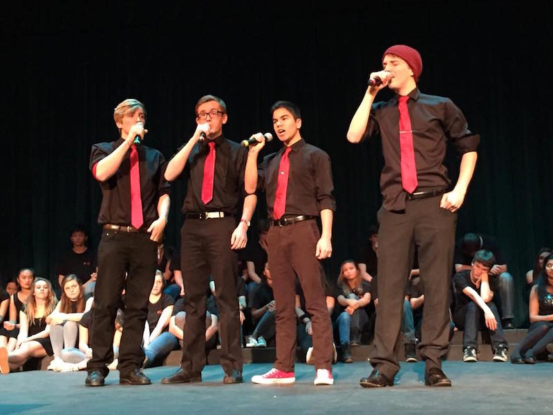 Palo Alto High School's all-male accapella group, the Heart Breakers (left to right: sophomore Spencer Wycoff, junior Sean Jawetz, senior Grant Smith, senior Edward Kwiatkowski) perform at the Pops Concert on Feb. 11. This is where they announced that they would be releasing a CD. Photo by Alex Merkle-Raymond.