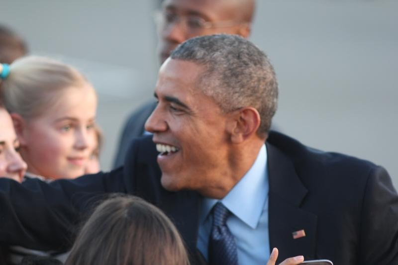 President Obama greets supporters in San Francisco. Photo by Emma Chiu.