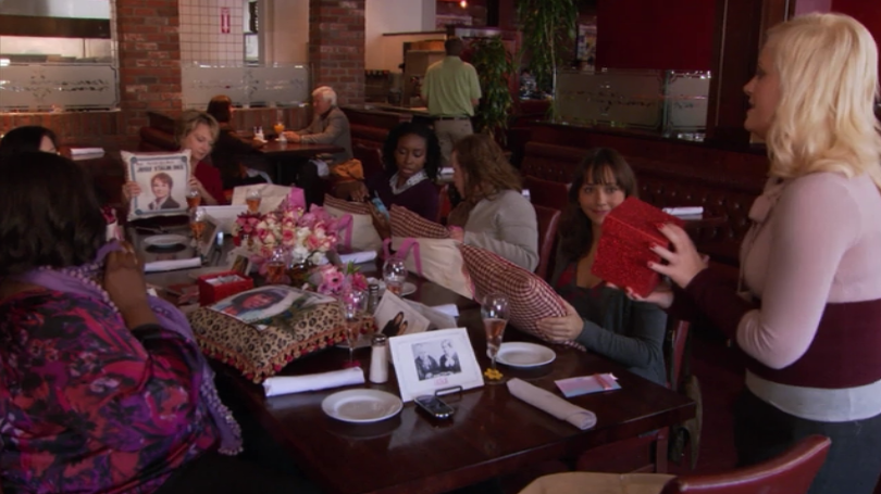 Leslie Knope (Amy Poehler) provides her lady friends and family with a number of sentimental gifts over a Galentine's Day brunch. Photo courtesy of NBC.
