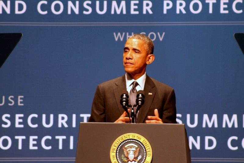 President Barack Obama gives a keynote speech at the White House summit at Stanford University on . Photo by Aidan Maese-Czeropski.