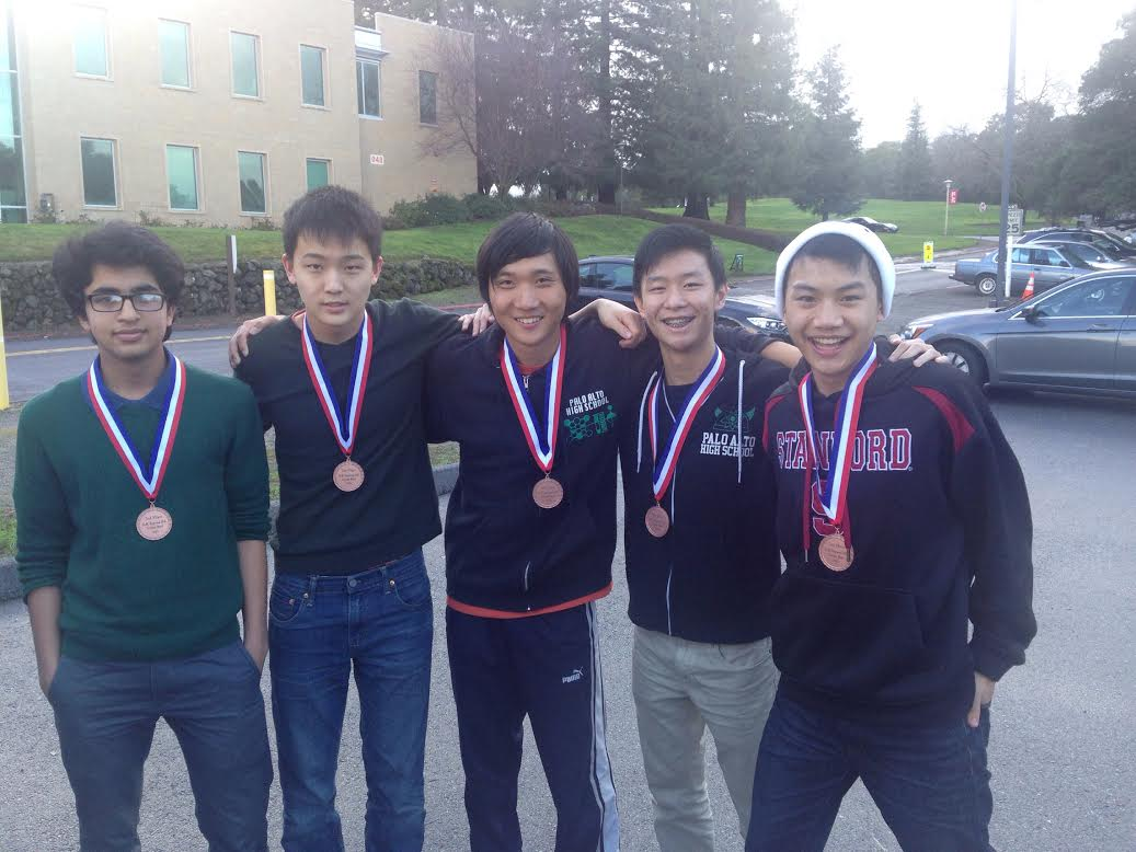 Paly Science Bowl members (from left to right) sophomore Samarth Venkatasubramanian, junior Andrew Lee, senior Jasen Liu, senior Matthew Li and senior Gary Chen pose for a photo after placing third at regionals. Photo courtesy of Gary Chen.