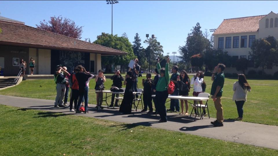 Students who participated in the Day of Silence break the silence by shouting after school. Photo: Mary McNamara.