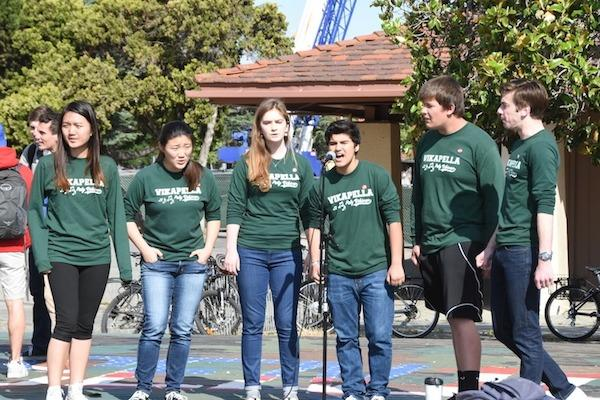 Vikapella (Georgina Wu, Jenny Xin, Diana Cowie, Abira Berezin, Ryan Jamison, Will Kast), sing on the Quad for Not in Our Schools Week. Although the acapella group will not perform as a group at the concert, the singers will still participate with the rest of the choir. Xin will be one of the soloists featured at the concert. Photo by Liana Pickrell.