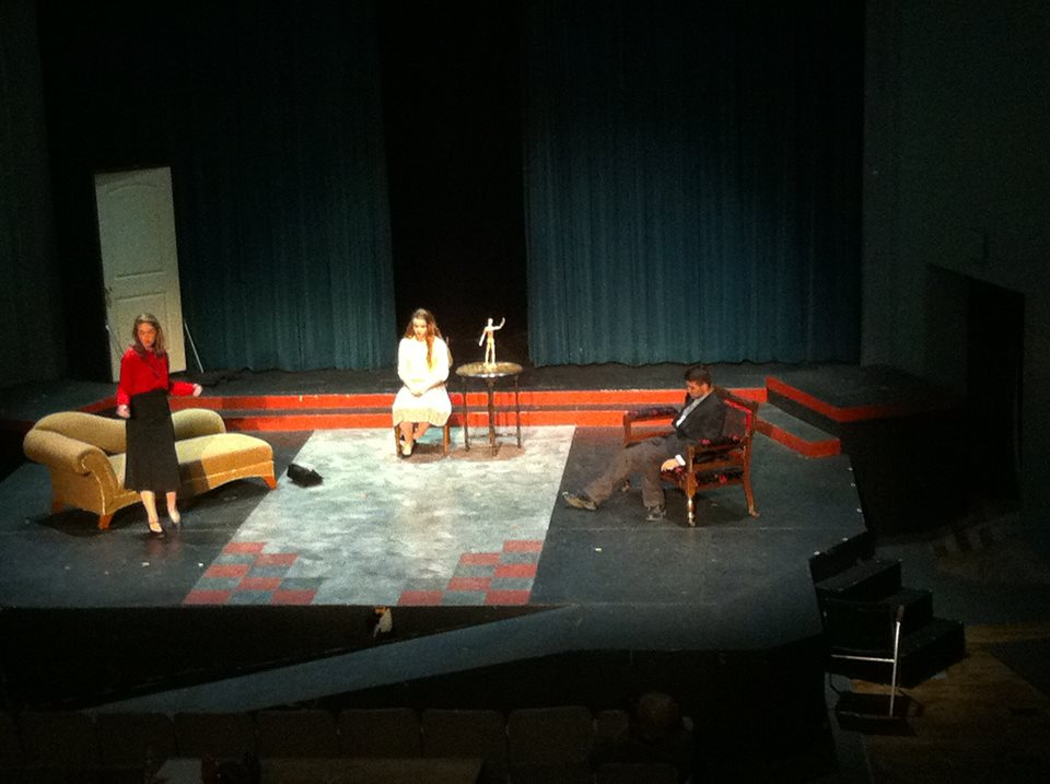 "A balcony shot of Paly Theatre's adaptation of ""No Exit,"" directed by Sabrina Sonner. "" Photo by Dalia Van Zyll"