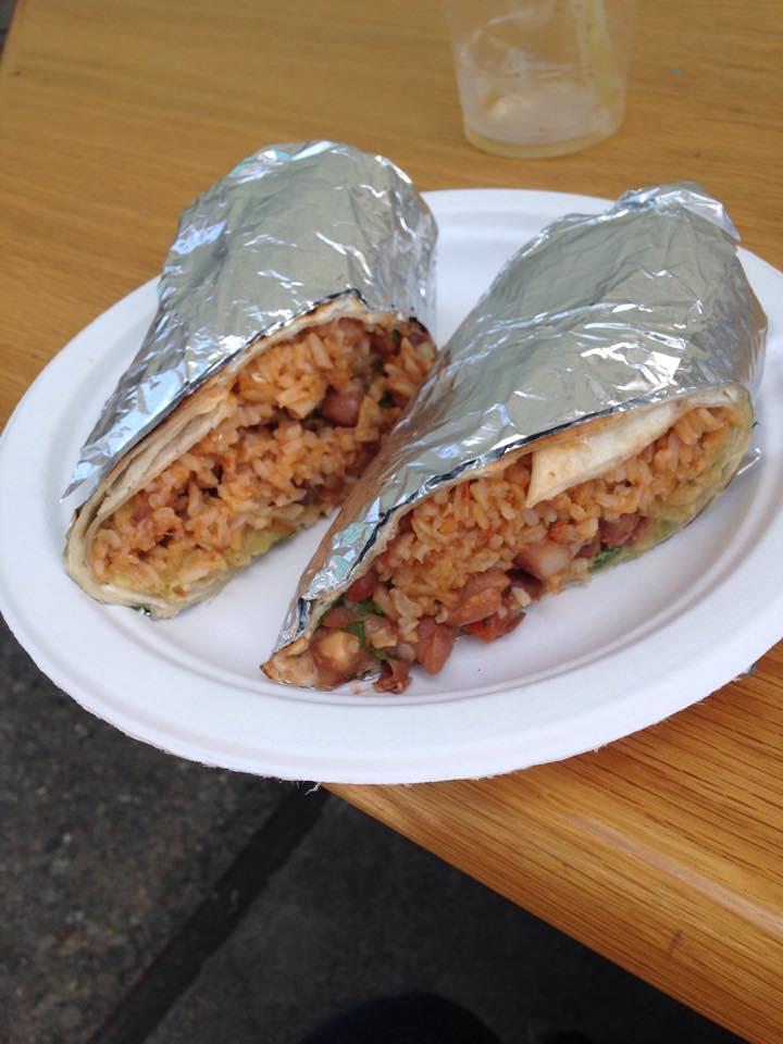 The delicious vegetarian burrito from Valencia Asian Market without the sour cream and cheese. Photo by Mary McNamara.