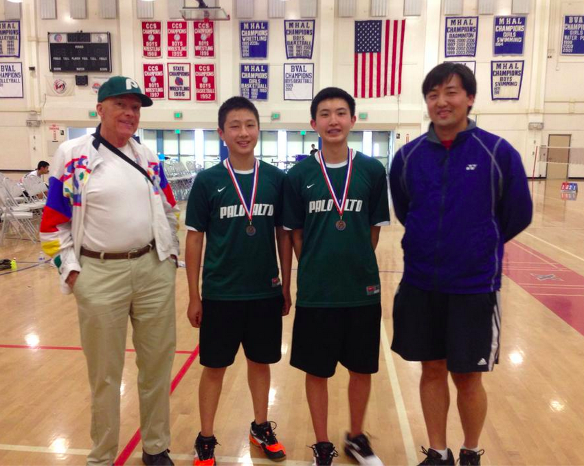 Juniors Eric Chiang and James Wang pose with coaches Wesley Hsieh and Len Hill after placing fourth at Central Coast Selection playoffs last year. Chiang and Wang will