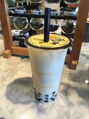 I ordered the standard jasmine pearl milk tea. It was generally too watery and the pearls were gummy, but with an excellent flavor. Photo by Alex Merkle-Raymond.