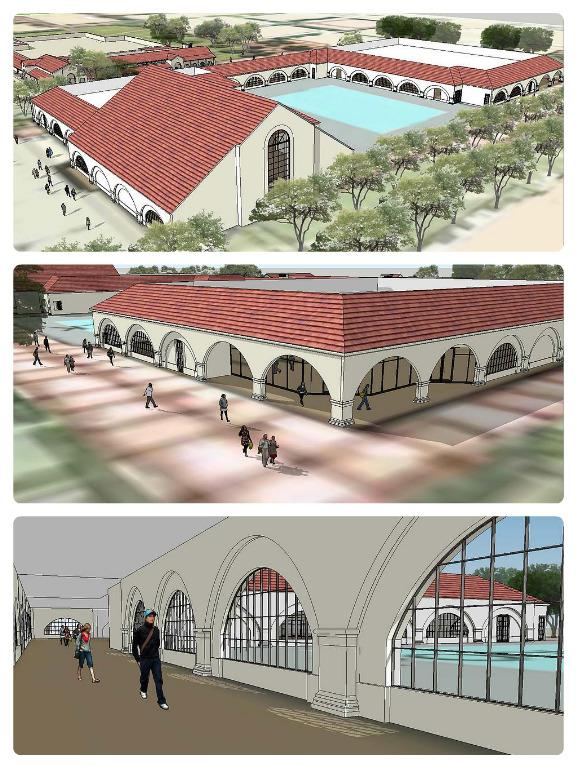 "Palo Alto High School's new sports complex will feature two multi-level gyms connected by a hallway, several locker rooms, a concession stand, an athletic store, a dance and yoga room, a ticket booth and a wrestling room. ""It has every possible thing an incredible sports program needs,"" Assistant Principal Jerry Berkson said. Screenshots by Jeanette Wong."