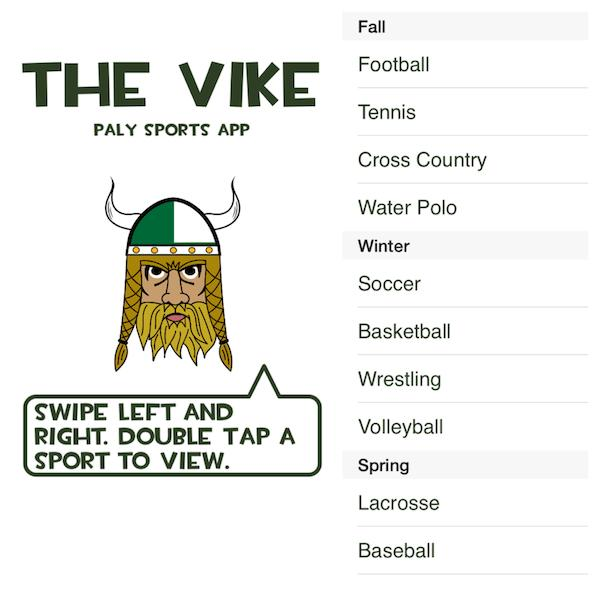 "iPhone screenshots of ""The Vike"". ""The Vike is intended for Palo Alto High School students who want to go and see their friends play,"" junior Brian Tracy said. Screenshots by Daniel Li."