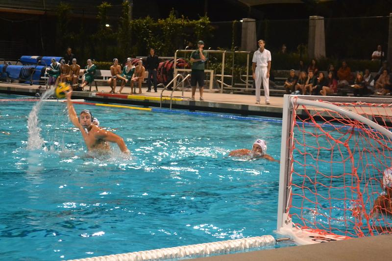 Senior Winston Rosati winds up to shoot on a penalty shot. Rosati added a goal in the 11-10 loss to Monte Vista  High School on Senior Night. Photo by Chirag Akella