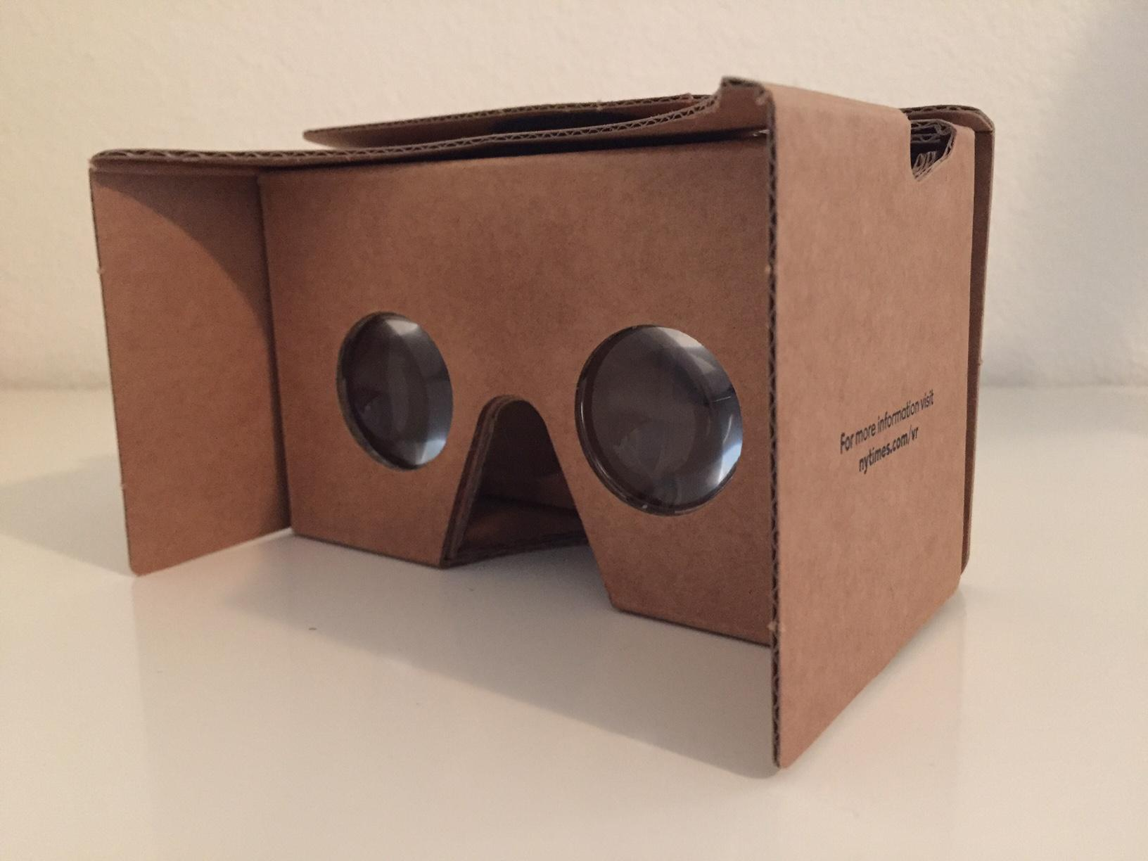 In partnership with Google, the New York Times distributed Google Cardboard eyepieces to its mail subscribers. The Google Cardboard produces a stereoscopic effect and makes objects appear 3D. Photo by Dhara Yu.