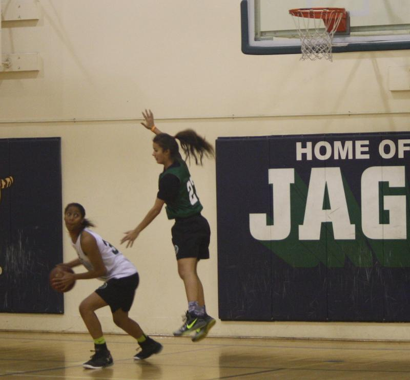 Senior Alexis Harris works the post against senior Courtney Lovely during the team's preseason practice. Photo by Sam Lee.