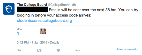 After the delay in the release of PSAT scores, the College bBoard has been receiving inquiries from many frustrated students. Emails containing an access code will be sent out in the next 36 hours. Screenshot by Daniel Li.