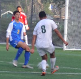 The Vikings went on to win 2-0, maintaining an undefeated league record today after school at Palo Alto High School in a game against Santa Clara High School. Photo by Mary McNamara.