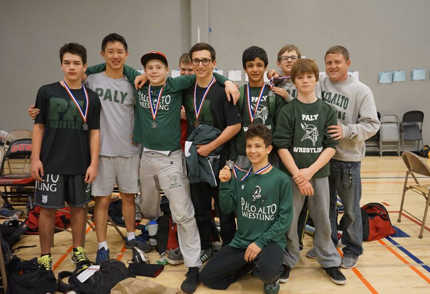 Members of the Palo Alto wrestling team pose for a picture after competing at the Santa Clara Valley Athletic League Championships last weekend.