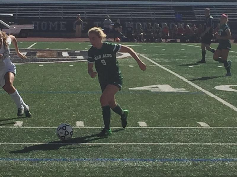 Paly senior Ansley Queen controls the ball in the second half of the Vikings' first round Open Division playoff game against Mitty. After a scoreless deadlock through regulation and overtime, Paly fell 4-3 in penalty kicks.