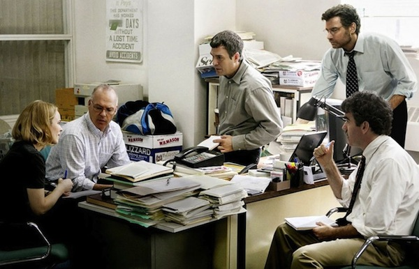 Spotlight reporters Sacha Pfeiffer (Rachel McAdams), Walter Robinson (Michael Keaton), Michael Rezendes (Mark Ruffalo), Marty Baron (Liev Shreiber) and Matt Carroll (Brian D'arcy James) (left to right) discuss their investigation of religious figures in the Boston area. The stellar cast and dramatic plot line contributed to the film's emotional appeal and propelled it to earn six Academy Award nominations. Photo courtesy of Open Road Films.