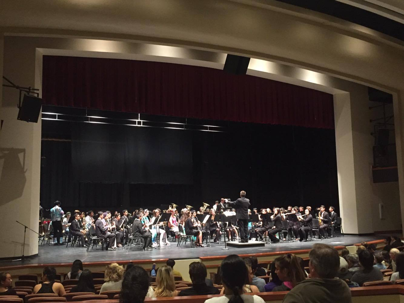 The Paly Symphonic Band, conducted by Jeff Willner, was the first to perform in the new PAC on Thursday May 12. Photo: Emma van der Even.