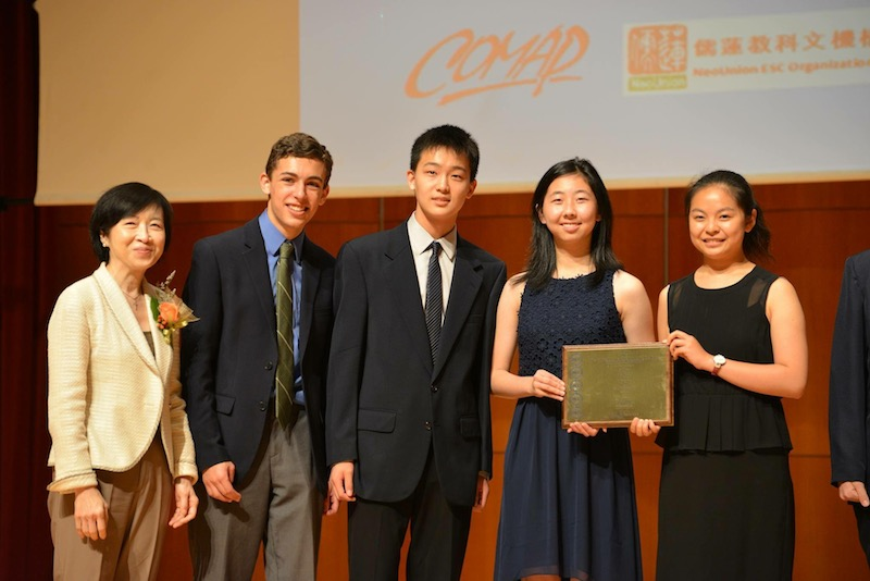 Seniors Eric Foster, Andrew Lee, Kathryn Li and Allison Zhang pose for a picture after winning the International Math Modeling Competition last July. This year, the team