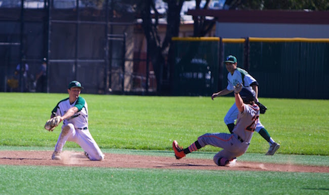 Junior shortstop Ethan Stern prepares to place a tag on an incoming Los Gatos runner. The Vikings lost to the Wildcats, 7-4, during a league game in April.Photo by Cooper Lou.