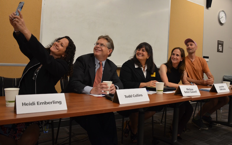 All five school board candidates pose for a photo together while preparing for the first forum of the 2016 election cycle. Photo: Zahra Muzaffar