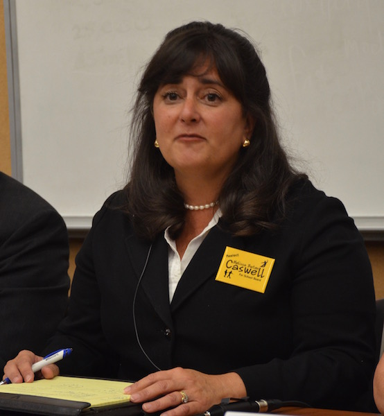 Melissa Baten Caswell, who has completed two terms on the school board, acknowledged areas of improvement and strengths of the current school board. Photo: Zahra Muzaffar
