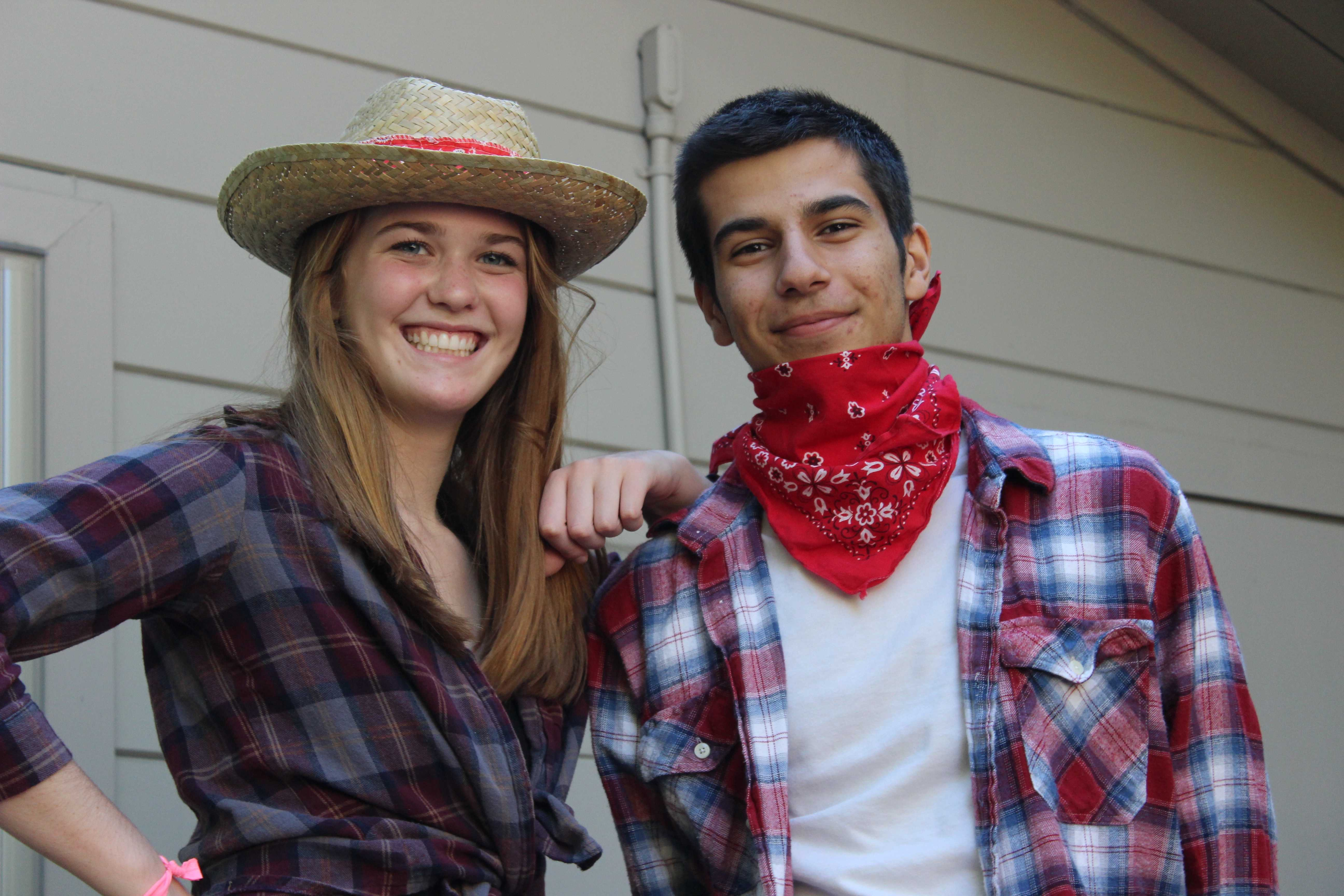 "Staff Writers Kasra Orumchian and Isabella Marcus wear their flannels in preparation to ""Ranch"" day."