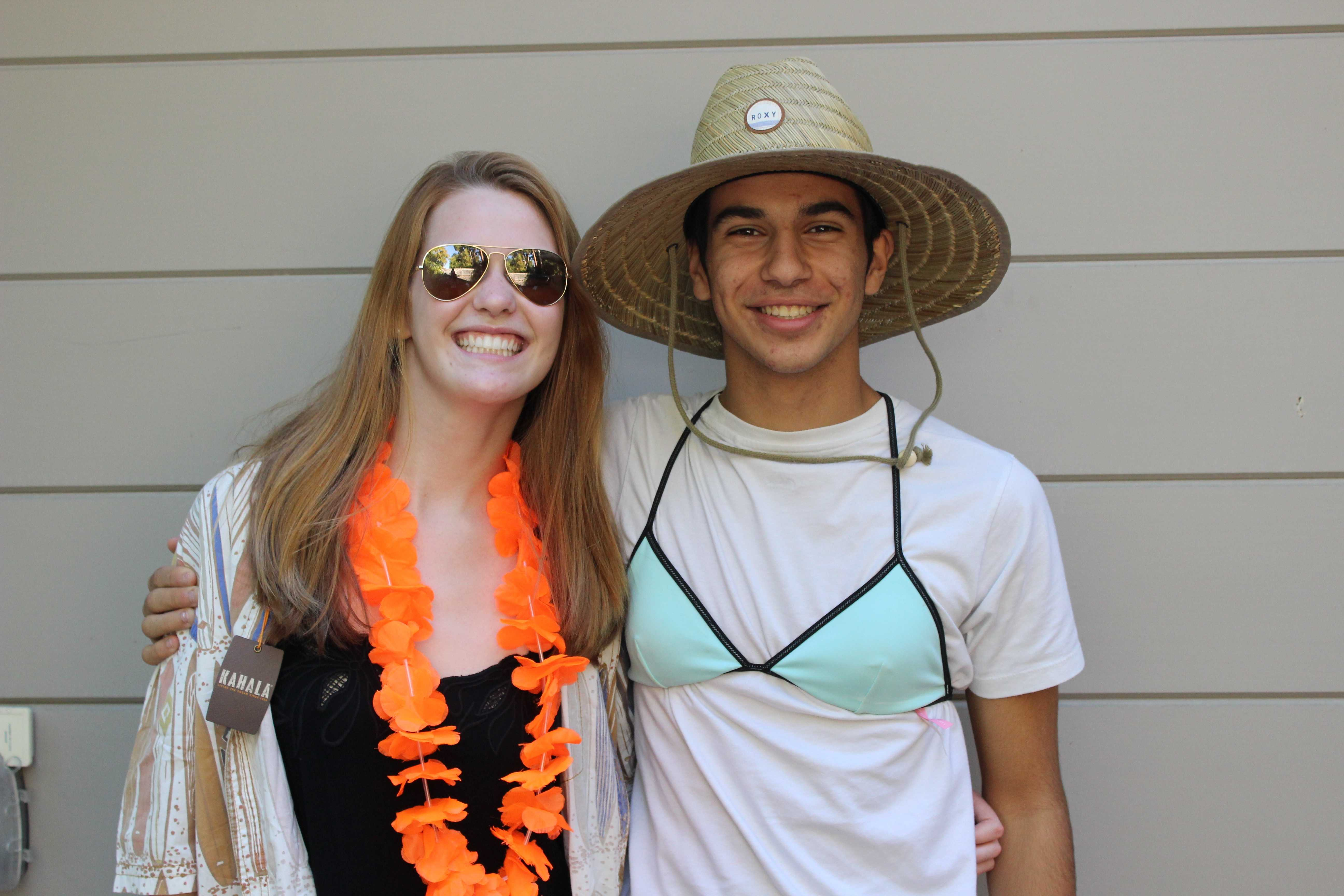"Staff Writers Kasra Orumchian and Isabella Marcus wear their tropical clothing for the Junior spirit day ""Thousand Island""."