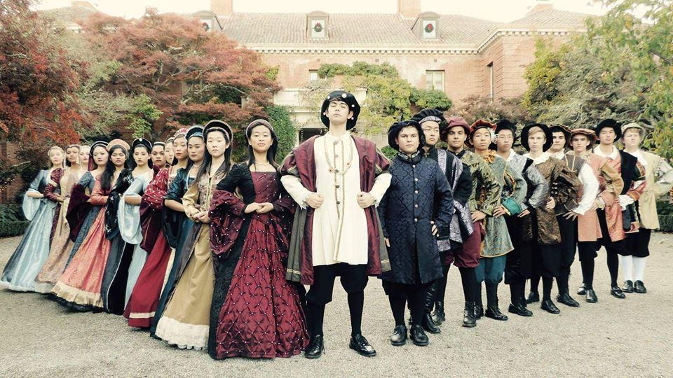 The Madrigal cast in their costumes. Photo: Cas Caswell.