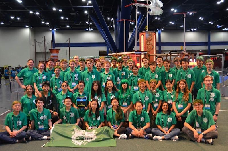 The Palo Alto High School Robotics Team 8 poses for a picture at the World Championships in Houston last weekend. The team was named as a semifinalist. Photo: Kenny Cheung.