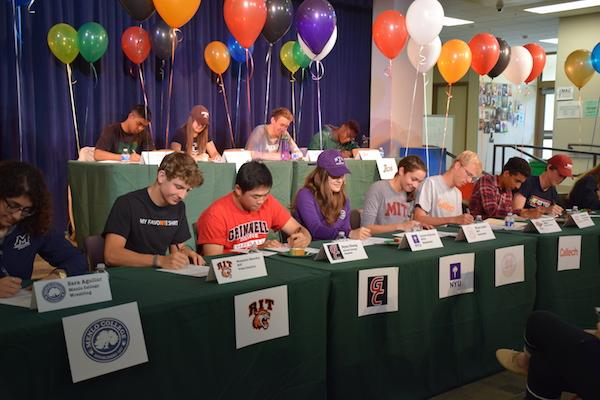 Fourteen seniors at Paly affirmed their intent to continue their athletics in college in the MAC today.