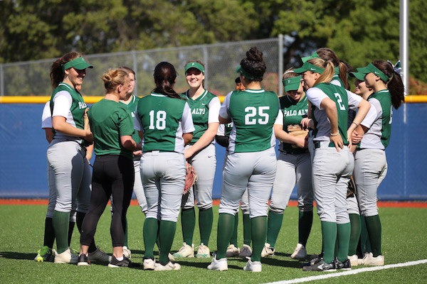 The softball team huddles up before its game against Saratoga High School (8-3, 2-1) on Mar. 22. The Vikings lost to the Falcons 8-1.
