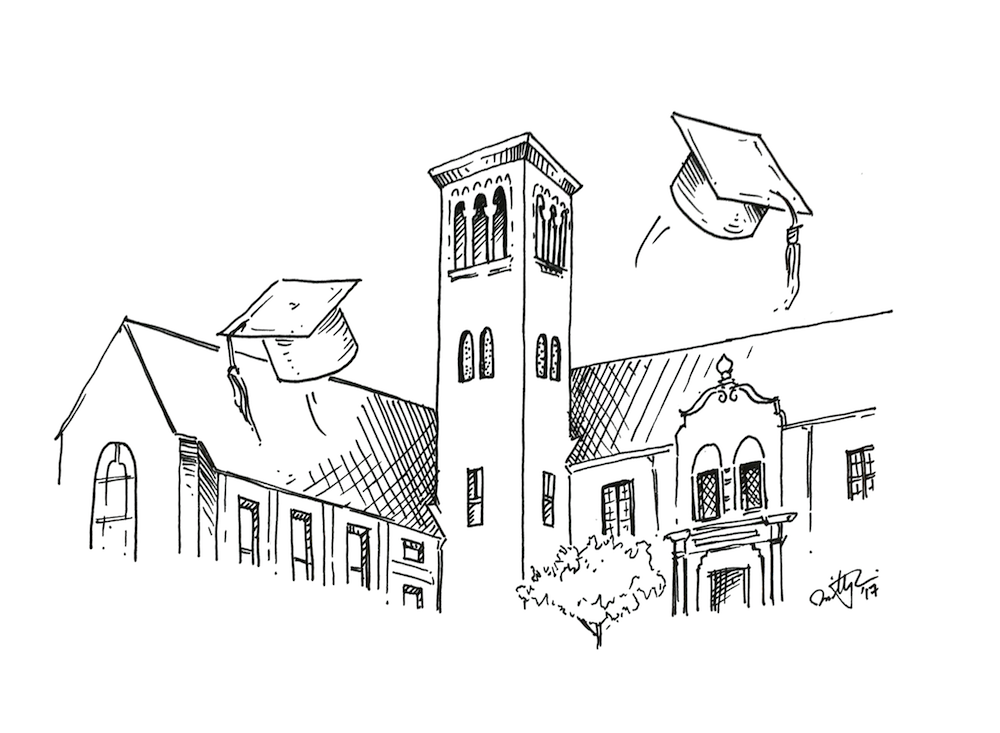 Graduation caps fly in front of the Tower building. Illustration: Timothy Liu.