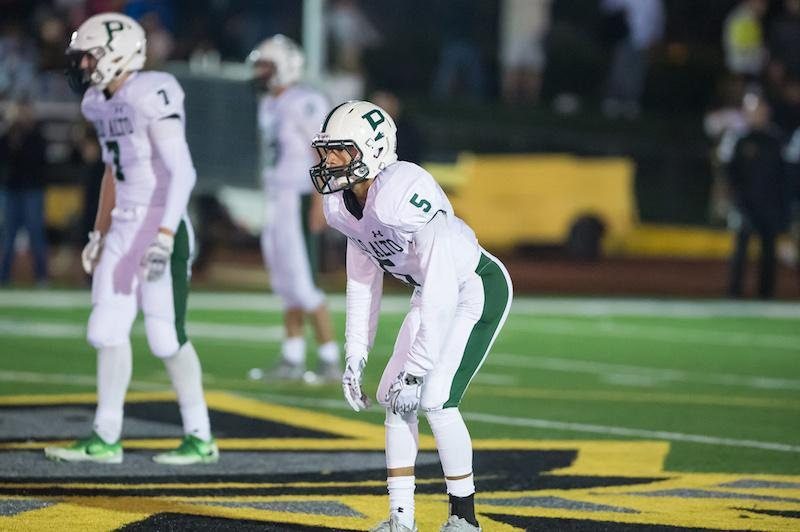 Junior cornerback Damion Richard-Valencia awaits to defend a Mountain View High School defender during a road game last season. Richard-Valencia has been the cornerstone of the Paly secondary and will continue to be a key player in the Vikings' defense. Photo: David Hickey