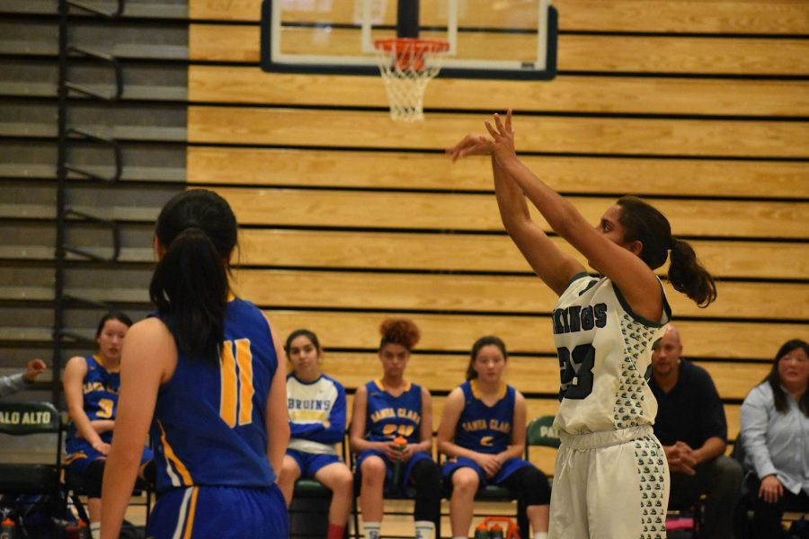 Freshman+guard+Annika+Shah+watches+as+her+shot+sinks+into+the+net+in+a+game+against+Santa+Clara+High+School.+Palo+Alto+High+School+went+on+to+win+the+game%2C+51-40.+%22Many+people+underestimate+the+freshmen+and+I+am+here+to+just+prove+them+wrong%2C%22+Shah+said.