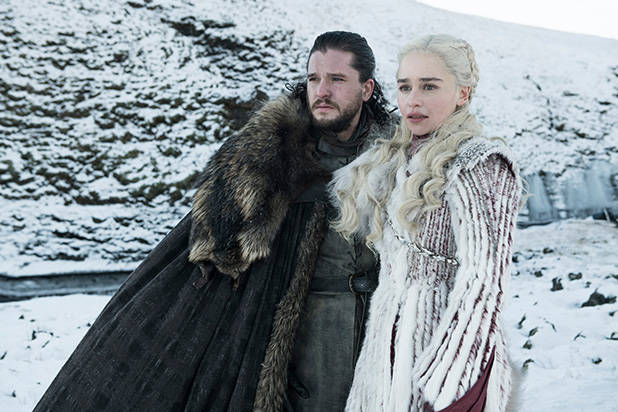 Game+of+Thrones+main+characters+Jon+Snow+%28Kit+Harington%29+and+Daenerys+Targaryen+%28Emilia+Clarke%29+share+a+moment+together+in+season+8+episode+2%2C+titled+%22A+Knight+of+the+Seven+Kingdoms.%22