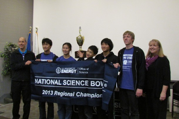 """The Palo Alto High School Science Bowl team displays its trophy after winning the regional Science Bowl competition on Saturday, Feb. 2, at Lawrence Berkeley National Lab. This is the first time in seven years that Paly's team is going to the national competition. """"We're really solid, but we need to get even better,"""" team captain Jeffrey Ling said."""