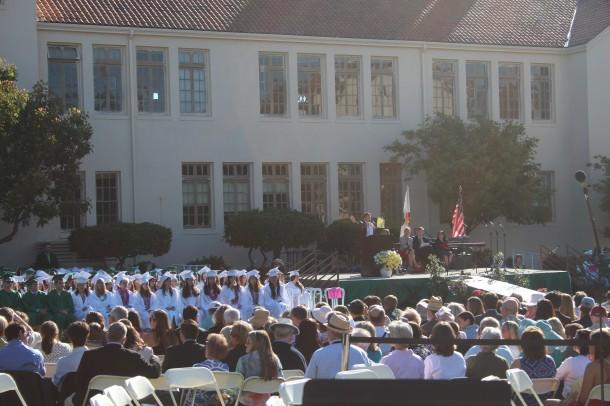 Students listen to Principal Phil Winston speak. Photo by Malcolm Davis.