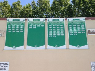 Santa Clara Valley Athletic League banners proudly show the varsity swim team's victories. Photo by Frankie Comey