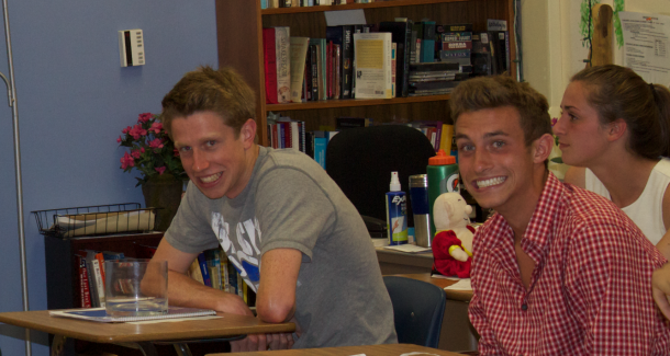 Comedy Lit. brings out the smiles in seniors Will Mendenhall and Josh Totte. The two students are in one of the first two periods of Paly's newest class, taught by Lucy Filppu. Photo by Scott Andrews.