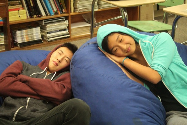 Staff writers Eric Lu and Lizzie Chun hope to increase their energy for the rest of the school day through naptime.  Photo by Callie Walker.