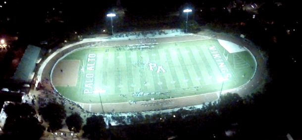 Paly's first football game of the season takes place under the lights of the newly remodeled stadium. The Vikings beat the San Benito Haymakers 28-7. Photo by Chris Hinstorff via the Paly Voice drone.