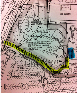 Temporary bike racks will be added around campus and alterations will be made to the drop-off zone at the north side of the Palo Alto High School grounds due to the Performing Arts Center construction, which will begin before the end of this school year, according to Assistant Principal Jerry Berkson. The car parking lot will be restriped, and two pathways (yellow) leading to new bike racks (blue) will be paved for pedestrians and bikers, according to bond program manager Tom Hodges. Image: fs3|Hodges.