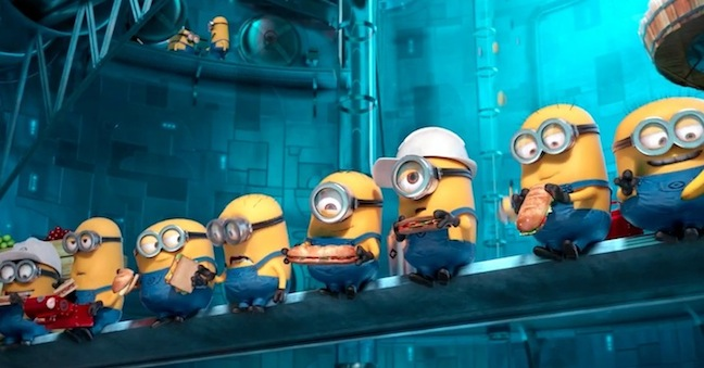 Gru's Minions take a break from work. taking a break from the job. These adorable creatures help provide a plot relief as well as a whole bunch of laughs. Photo courtesy of Illumination Entertainment.