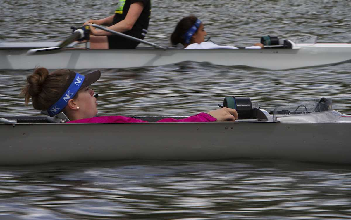 Colette Lucas-Conwell coxed a 4+ her senior year at Los Gatos Rowing Club on Lexington Reservoir. Photo by Max Moyer.
