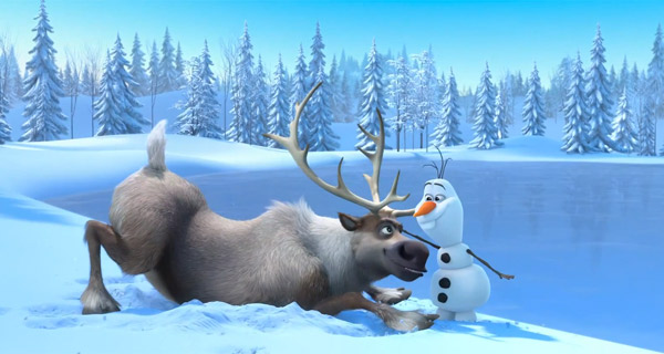 Sven the reindeer and Olaf the snowman add comic relief as Anna and Kristoff fight to bring back summer. Photo courtesy of Disney.