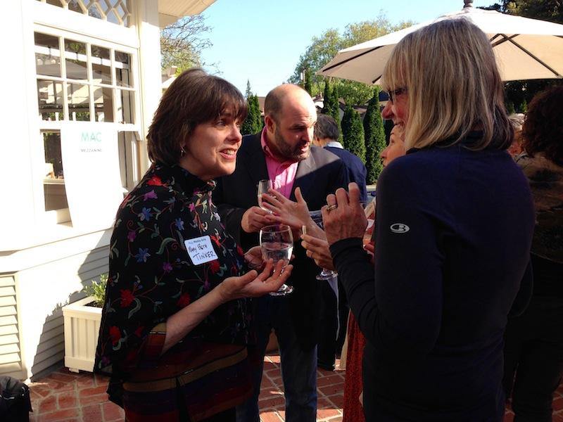 Mary Beth Tinker (left) talks with Esther Wojcicki (right) at the Media Arts Center benefit yesterday. Photo by Takaaki Sagawa.